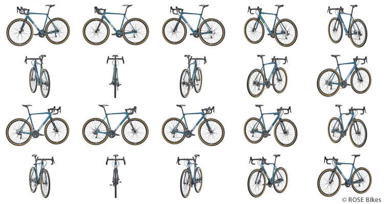 Br24: 20 individual images of a bicycle that are used to create a 360-degree image