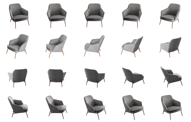 Br24: 20 individual images of a chair that are used to create a 360-degree image