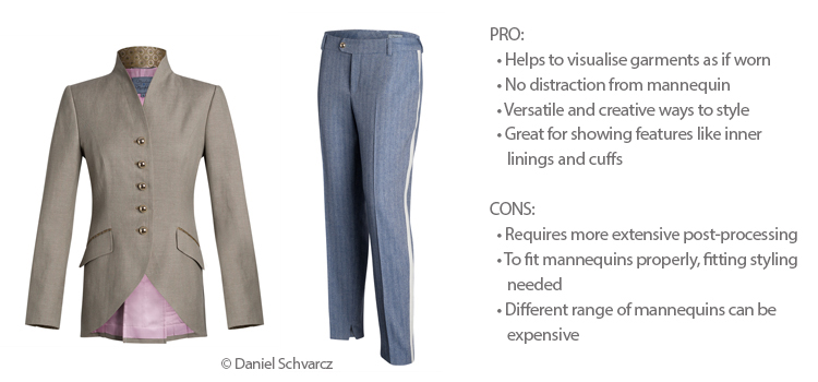 Br24 Blog How to shoot clothing: Example for ghostmodel with beige blazer and blue trousers, with pros and cons