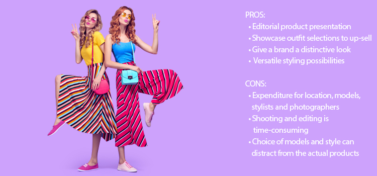 Br24 Blog How to shoot clothing: Example for live model, two pretty women in colourful summer clothes having fun, with pros and cons