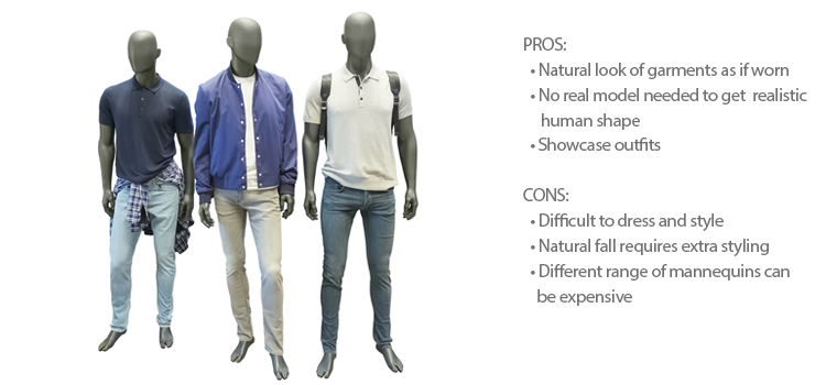 Br24 Blog How to shoot clothing: Example for mannequin, Three male mannequin in fashionable clothes, with pros and cons