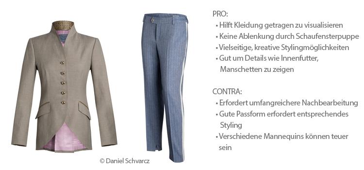 Br24 Blog Kleidung fotografieren: Beispiel Ghostmodel, beigen Blazer und blaue Hose, mit Pro und Contra