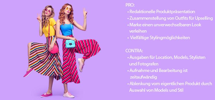 Br24 Blog Kleidung fotografieren: Beispiel Fotomodell, zwei hübsche Frauen in bunter Sommerkleidung die Spaß haben, mit Pro und Contra