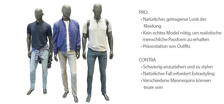 Br24 Blog Kleidung fotografieren: Beispiel Schaufensterpuppe, drei männliche Schaufensterpuppe in modischer Kleidung, mit Pro und Contra