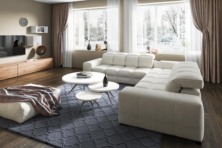 Br24 Blog Retusche von CGI vs. Fotografie: CGI, modernes Wohnzimmer mit Sofalandschaft, Teppich, großes Fenster mit Blick nach draußen, Bereiche mit Licht und Schatten gut erkennbar