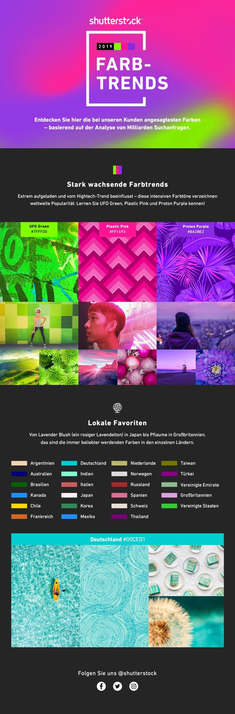 Br24 Blog Shutterstock Farbtrends 2019: Infografik über die Farbtrends 2019 mit UFO Green, Plastic Pink, Proton Purple und den lokalen Favoriten