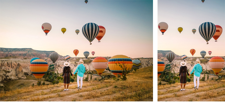 Br24 Blog Visual Trends 2019 - Vertical Imagery: Couple, seen from behind, holding hands in front of natural scenery with several hot air balloons, left - horizontal format, right - vertical format