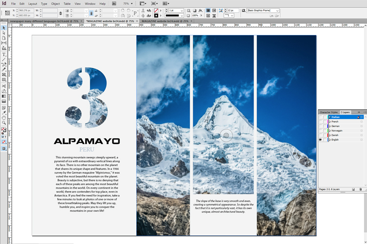 Br24 Blog Layout language versions: Layout view of a magazine in InDesign