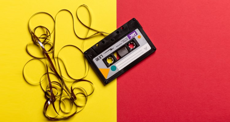Br24 Blog Adobe Stock's 2021 Creative Trends: Audio Trends, cassette on a yellow-red background