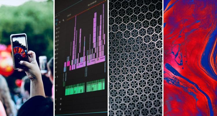 Br24 Blog Adobe Stock Creative Trends 2021: Motion Trends, vier Bilder nebeneinander, die die vier Motion Trends darstellen