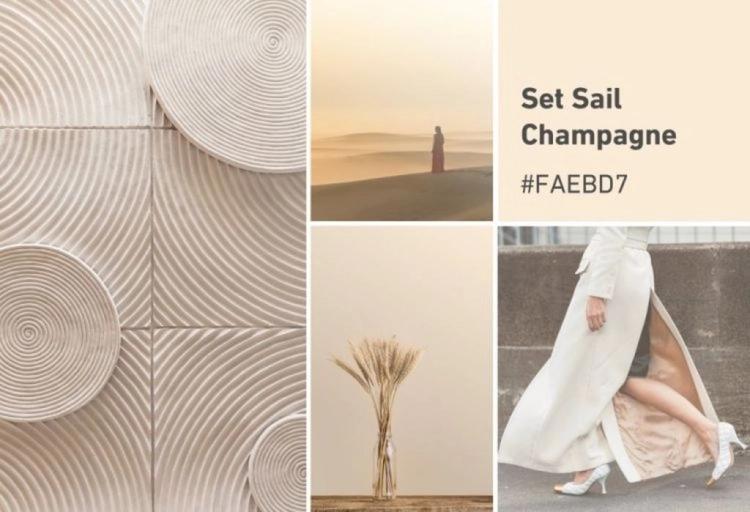 Br24 Blog Die Shutterstock Farbtrends 2021: Moodboard für die Farbe Set Sail Champagne