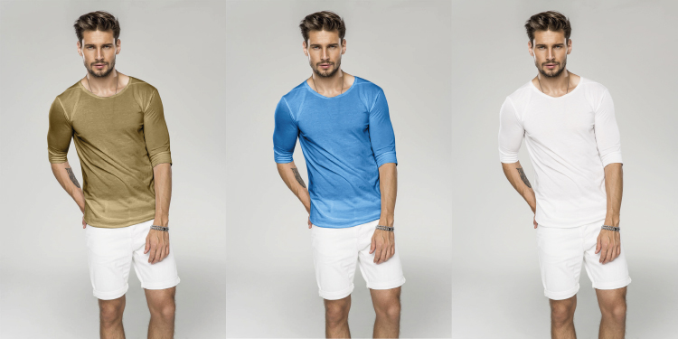 Br24 Colour Correction, Recolour: Three pictures of a male model with a t-shirt in three different colour variantions as an example for colour masks and recolour