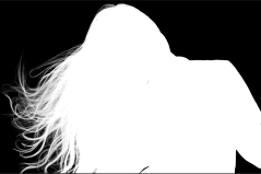 Br24: Beispiel einer Alphamaskierung, das ein Schwarzweiß-Alphakanalbild einer Person zeigt