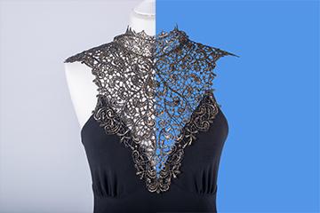 Br24 Onlineshops: Schwarzes Kleid, links an einer Schaufensterpuppe, rechts freigestellt mit Alphamaskierung