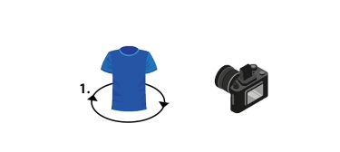 Br24: Graphic showing the rotation of a shirt in front of a camera ato illustrate the principle of 360 degree photography