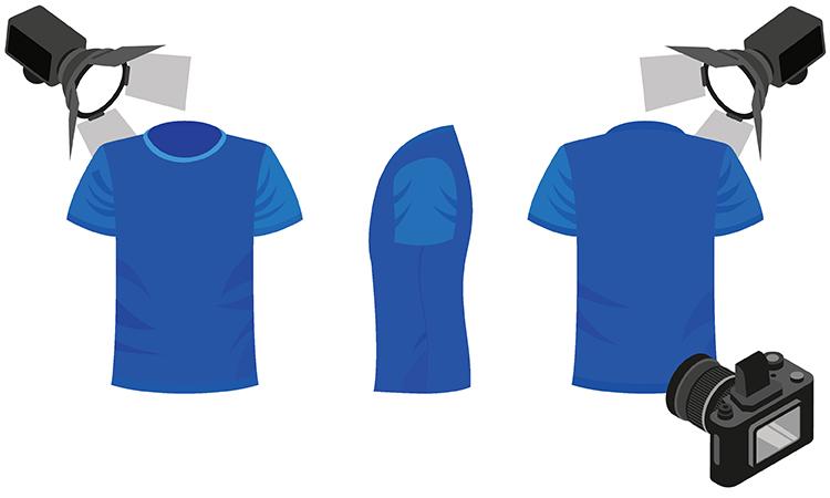 Br24: Grafik mit drei Shirts aus verschiedenen Perspektiven sowie einer Kamera, um den Prozess der 360-Grad-Fotografie zu verdeutlichen