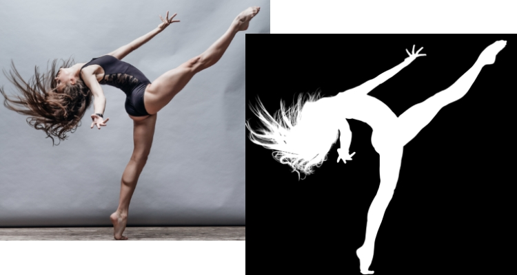 Br24 Blog All about Alpha Masking: Photo of a female dancer, comparison of original and alpha masking in black and white