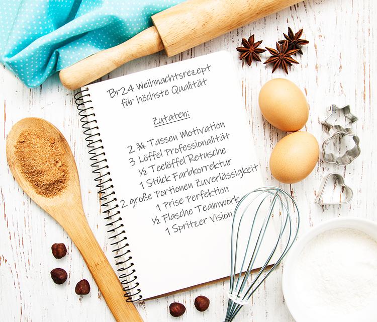 Br24 Blog Weihnachtsrezept für höchste Qualität: offenes Rezeptbuch mit Eiern, Nüssen, Mehl und Backutensilien