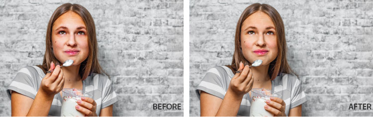 Br24 Blog Colour Correction: Example of adjusting skin tones before and after colour correction
