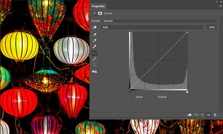 Br24 Blog Colour Correction: View of the curves layer in Photoshop