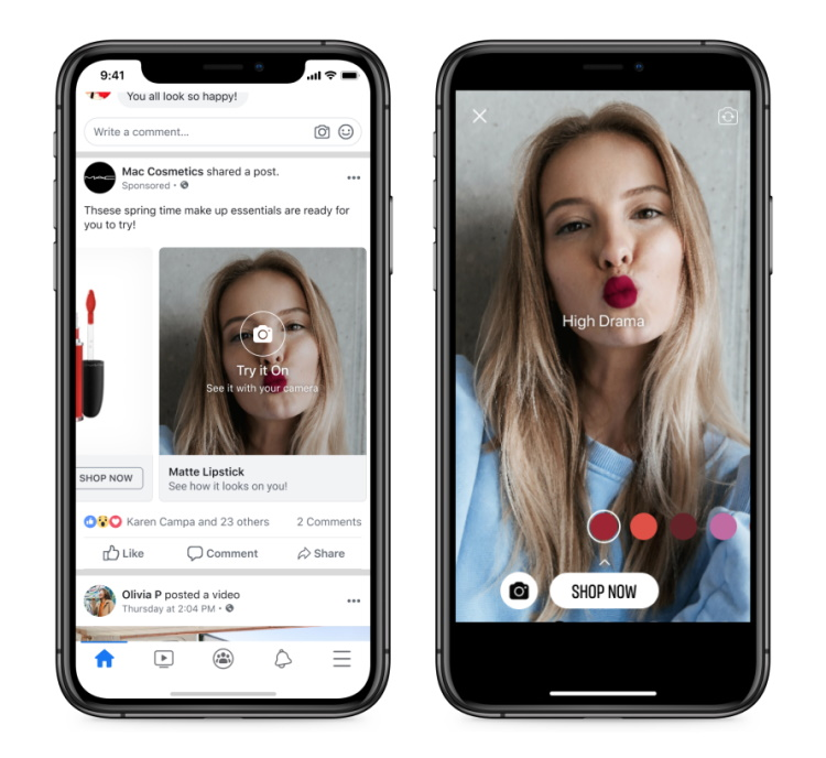 Br24 Facebook brings Shops to WhatsApp: Example of Facebook's AR try-on feature in Shops