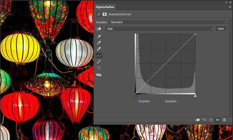 Br24 Blog Farbkorrektur: Ansicht des Dialogfelds der Gradationskurven in Photoshop