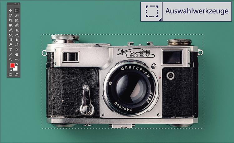 Br24 Blog Freisteller erklärt: Kamera freigestellt mit dem Auswahlwerkzeug