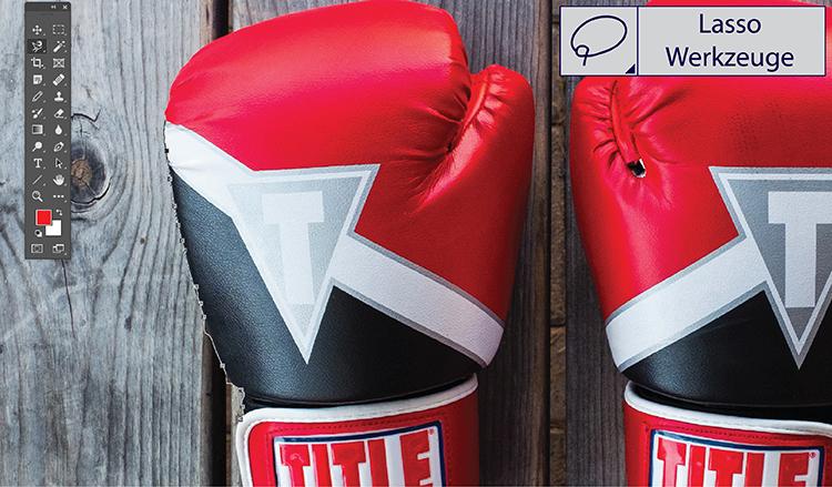 Br24 Blog Freisteller erklärt: Boxhandschuhe freigestellt mit dem Lasso Werkzeug