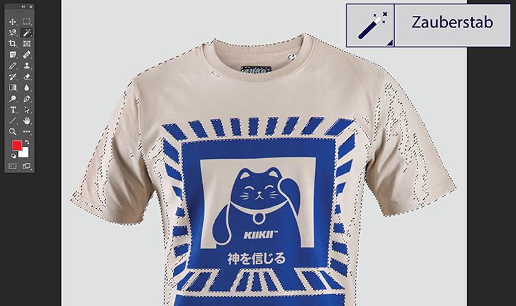 Br24 Blog Freisteller erklärt: T-Shirt freigestellt mit dem Zauberstab Werkzeug