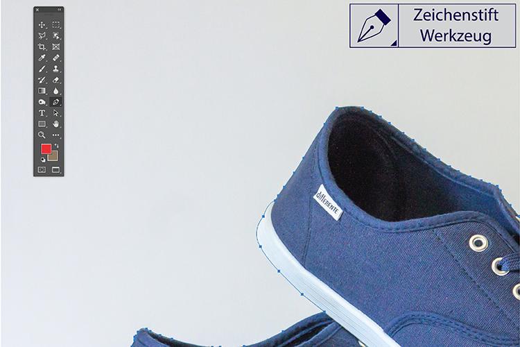 Br24 Blog Freisteller erklärt: Schuh freigestellt mit dem Zeichenstift Werkzeug