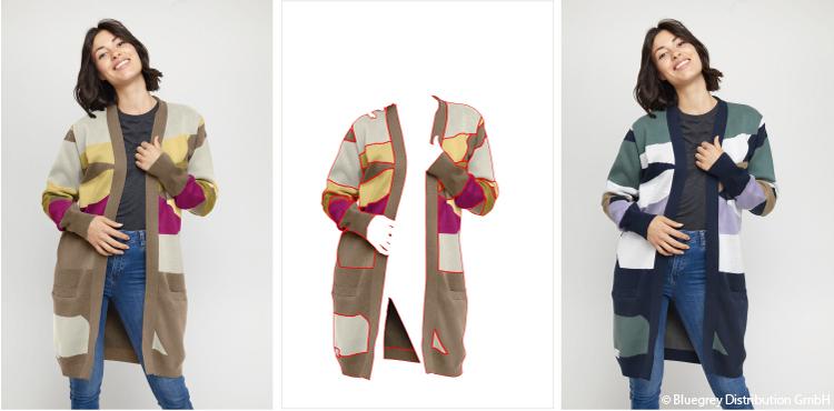 Br24: Drei Fotos eines Models mit Strickjacke. Originalfoto, freigestellte Strickjacke mit Maskierungspfaden, Foto mit umgefärbter Strickjacke