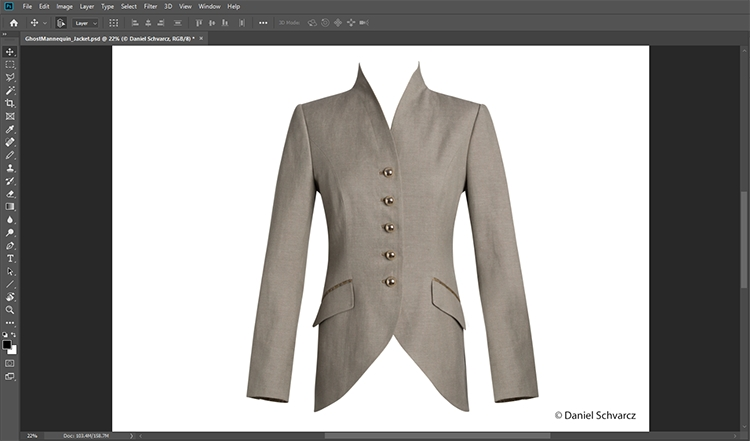 Br24 Blog Ghost Model: Ghost Model editing step in Photoshop, front view of a jacket after clipping