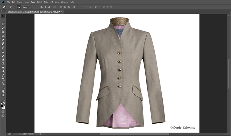 Br24 Blog Ghost Model: Image of a jacket in Photoshop after completed Ghost Model retouching