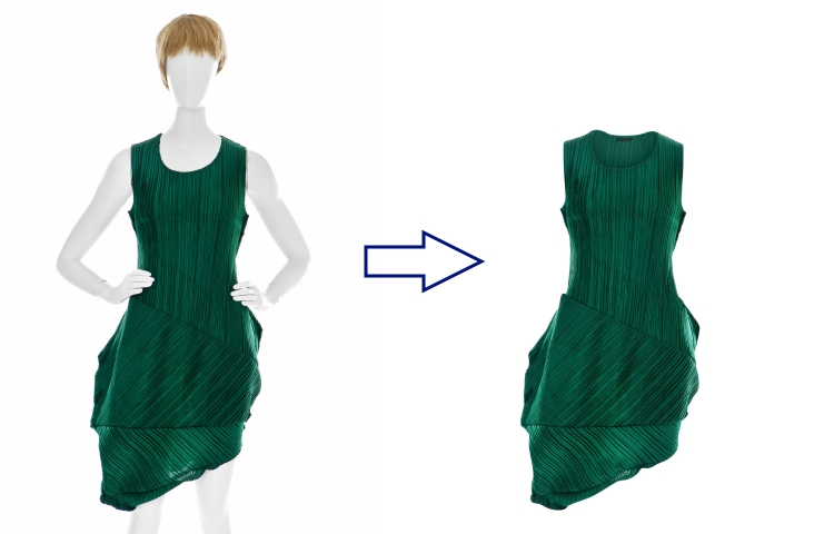 Br24 Blog Ghost Model: Green dress, before and after comparison of Ghost Model retouching