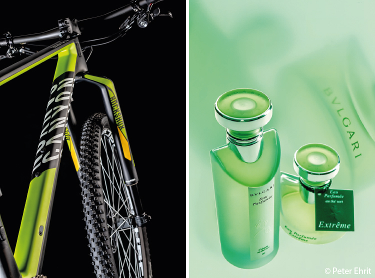 Br24 Blog Exclusive interview with Peter Ehrit: left photo of a mountain bike, right photo of two perfume bottles