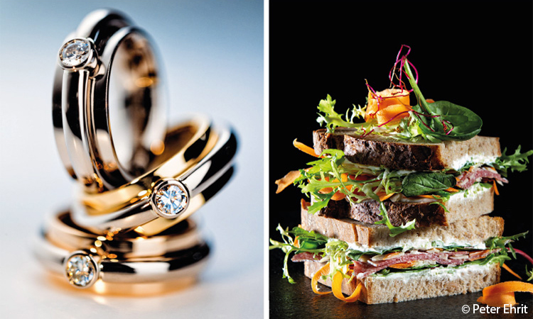 Br24 Blog Exclusive interview with Peter Ehrit: left photo of three gold rings, right photo of a sandwich