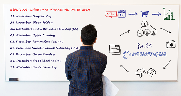 Br24 Blog Christmas Marketing Dates 2019: Man in front of whiteboard with important sales data and strategies