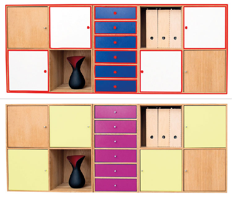 Br24 Blog What are maskings?: Example image for masking a wardrobe for recolour