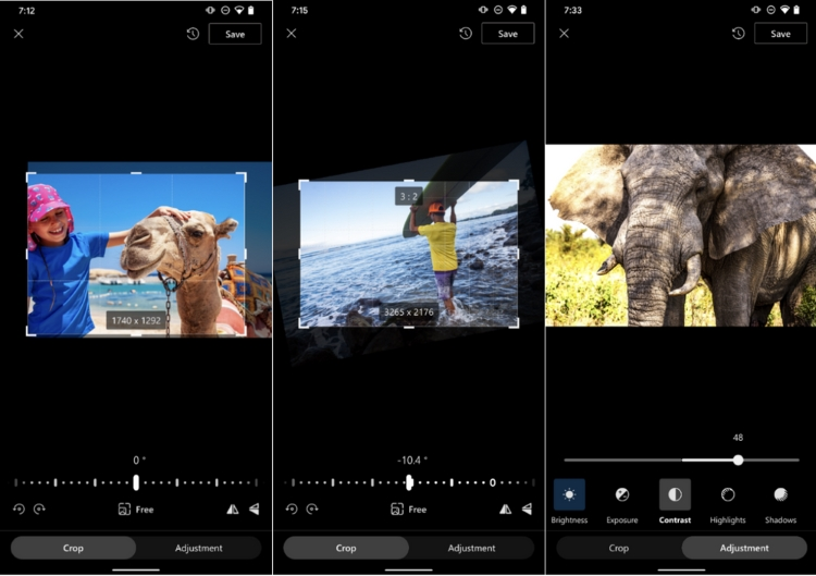 Br24: Fotobearbeitungsfeatures Fotos zuschneiden, Fotos drehen sowie Helligkeitsanpassungen von Microsoft OneDrive für Android.