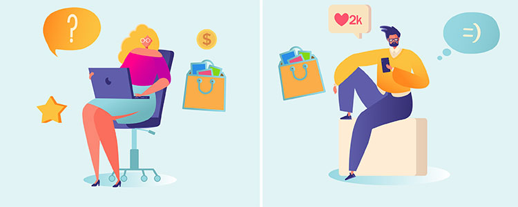 Br24 Blog Shopping differences Millennials and Gen Z: Graphic showing Millennial on the left and Gen Z on the right