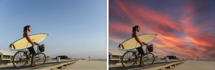 Br24 Blog Photoshop Sky Replacement Funktion: Vergleich vorher und nachher eines Fotos, um die neue PSD Sky Replacement Funktion zu zeigen