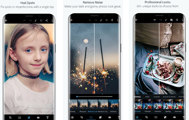 Br24 Blog photo editing apps: Screenshots of the Adobe Photoshop Express app - heal spots, remove noise, filters