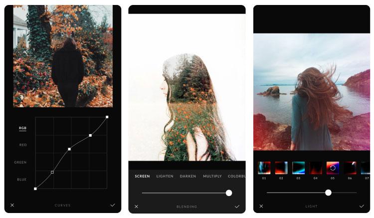Br24 Blog Bildbearbeitungs-Apps: Screenshots der Afterlight 2 App - Farboptimierung, Überblende, Licht