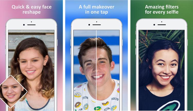 Br24 Blog Bildbearbeitungs-Apps: Screenshots der Facetune2 App - Gesichtszüge verändern, vollständige Überarbeitung, Filter