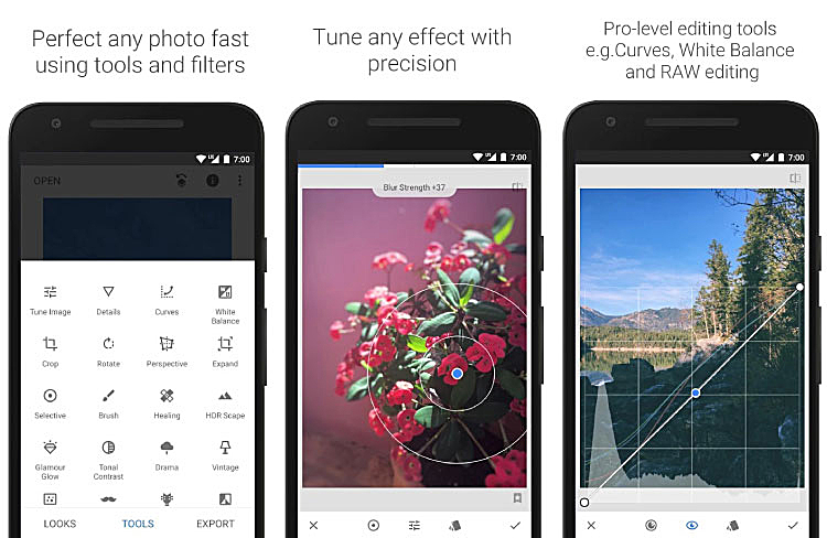 Br24 Blog photo editing apps: Screenshots of the Snapseed app - tools and filters, effects, curves