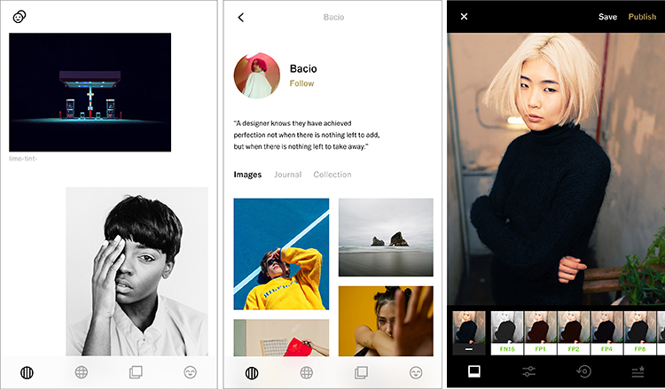 Br24 Blog photo editing apps: Screenshots of the VSCO app - startpage, feed, different filters