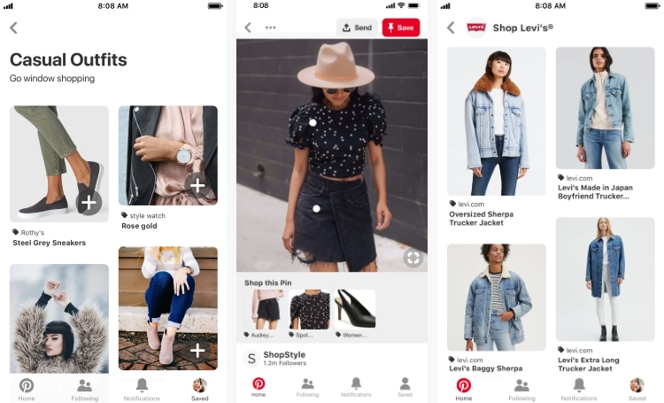 Br24 Blog Pinterest Shop the Look Ads: Beispiel Ansichten der Features persönliche Empfehlungen, Shop the Look, Shop by Brand