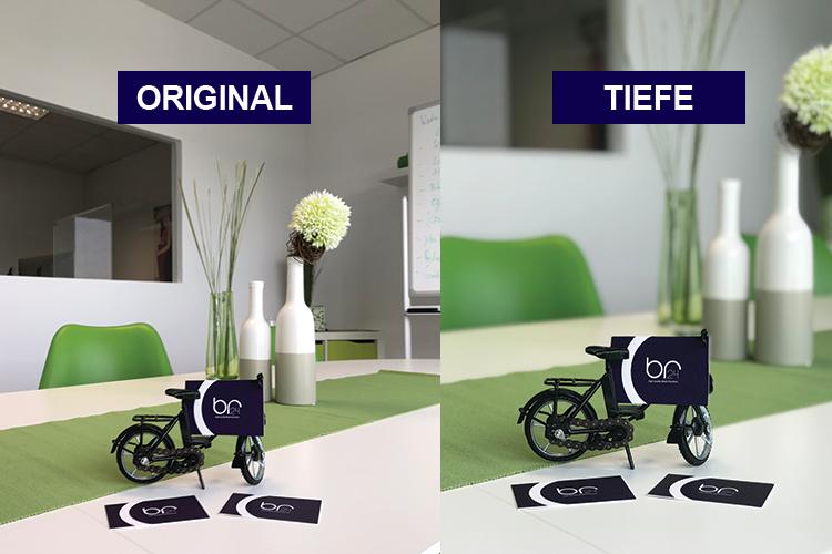 Br24 Blog Potenzial Smartphone-Fotos: Zwei Fotos mit Deko-Fahrrad und Br24 Visitenkarten, links: ohne Tiefenwirkung, rechts: mit Tiefenwirkung