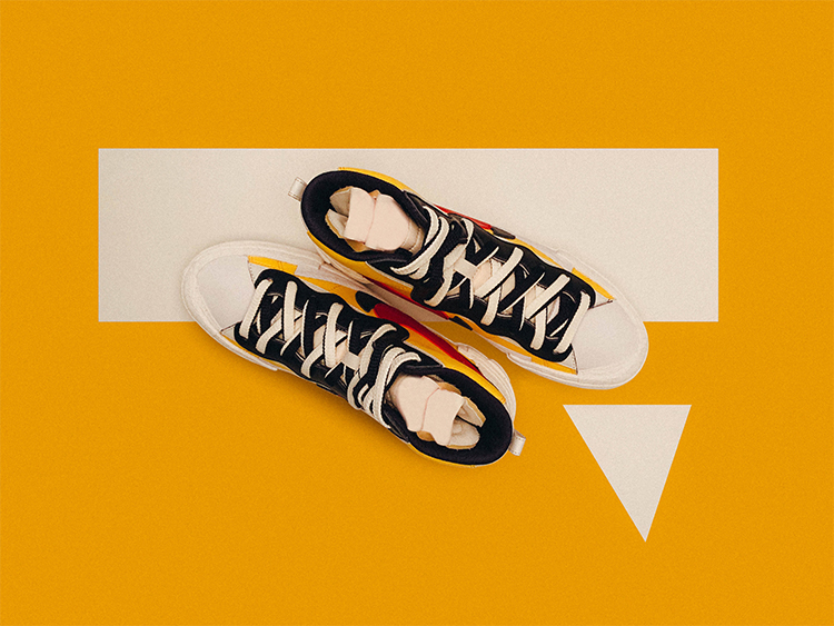 Br24 Blog The perfect background for product photos: Top view of a pair of sneakers against on a yellow background