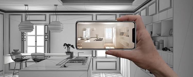 Br24 Blog Visuelle Trends 2021 Produktfotografie & E-Commerce: Trend AR, VR & AI für alle, Hand hält Smartphone mit AR-Anwendung zur Simulation von Innenarchitekturprodukten